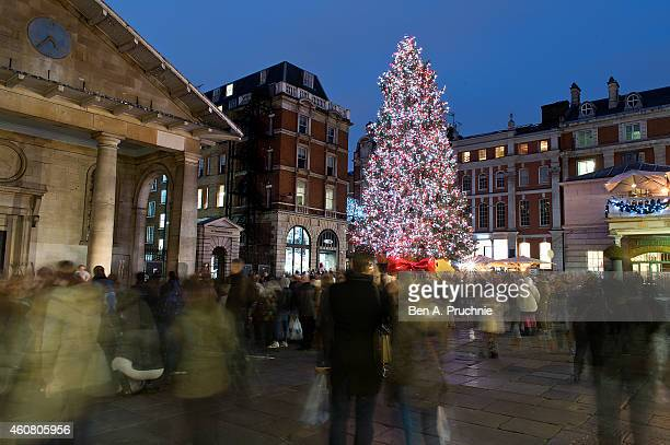 A general view of Christmas decorations in Covent Garden on December 23 2014 in London England