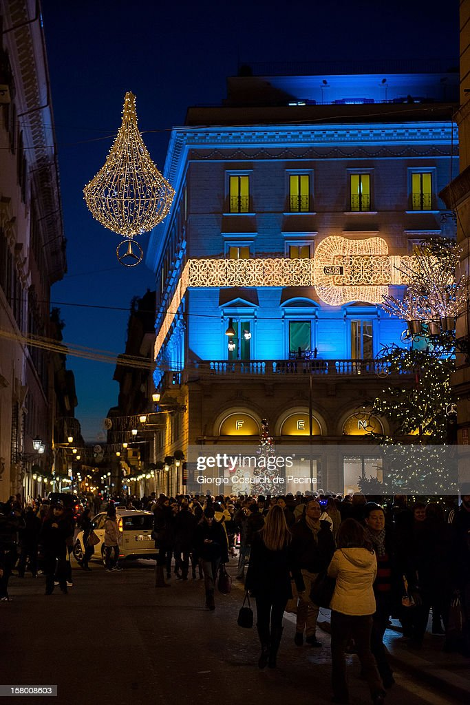 General view of Christmas decorations in front of Fendi Palace in the downtown area on December 8, 2012 in Rome, Italy.