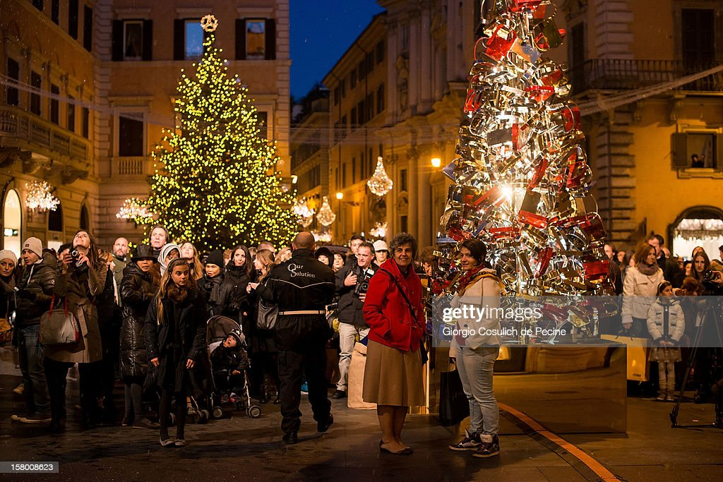 General view of Christmas decorations in Largo Goldoni in the downtown area on December 8, 2012 in Rome, Italy.
