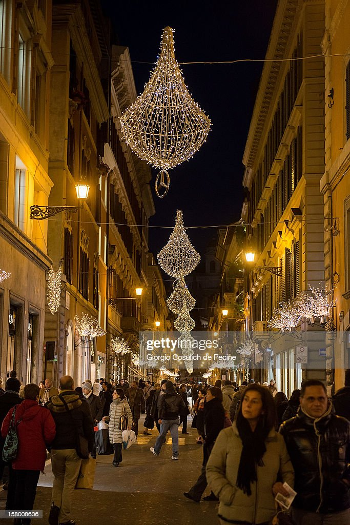 General view of Christmas decorations in Via Condotti in the downtown area on December 8, 2012 in Rome, Italy.