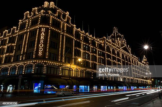 A general view of Christmas decorations on Harrods on December 23 2014 in London England