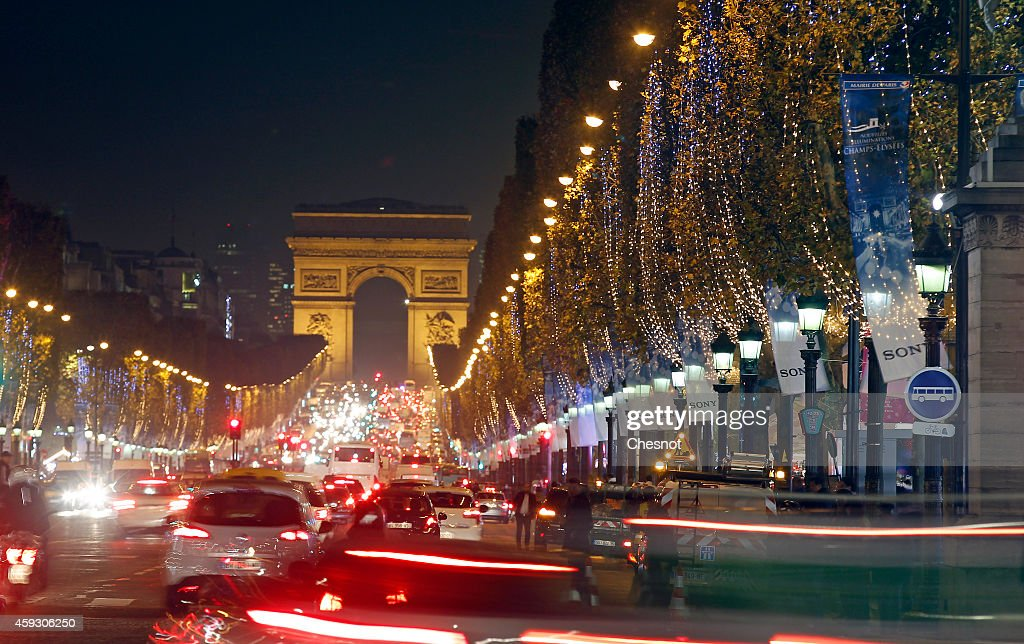 A general view of Christmas illuminations on the Champs Elysees on November 20 2014 in Paris France Parisians and visitors from around the world can...