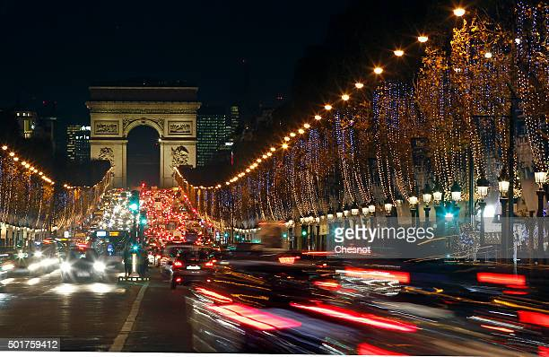 A general view of Christmas illuminations on the ChampsElysees on December 17 2015 in Paris France Parisians and visitors from around the world can...