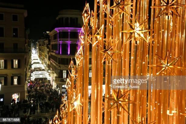 A general view of Christmas Lights At Bvlgari Boutique Rome on December 7 2017 in Rome Italy