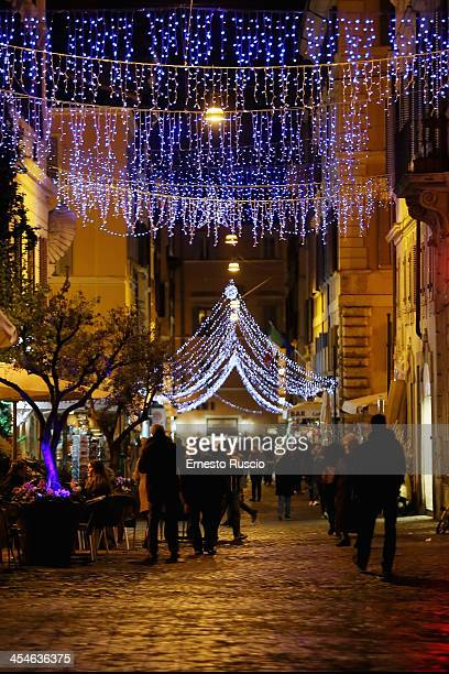 A general view of Christmas lights seen at Campo De Fiori on December 3 2013 in Rome Italy