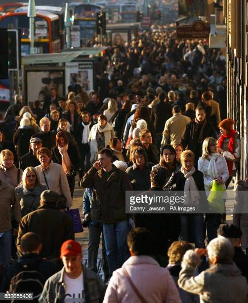 A general view of Christmas shoppers in Princes Street Edinburgh after a survey by theology think tank Theos found that the Spirit of Christmas is...