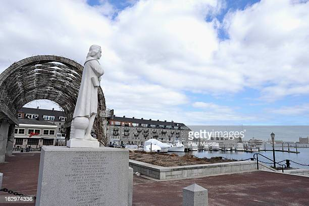 A general view of Christopher Columbus Statue in Boston's North End on the waterfront on March 2 2013 in Boston