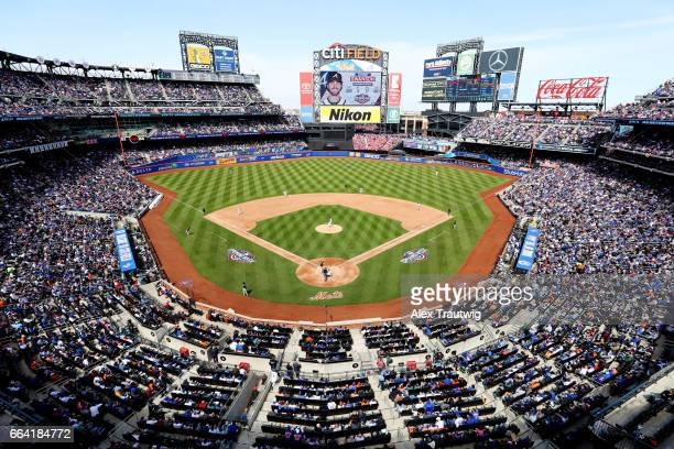 A general view of Citi Field during the game between the Atlanta Braves and the New York Mets on Monday April 3 2017 in the Queens borough of New...