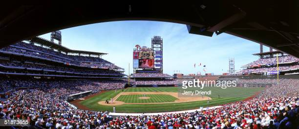 General view of Citizens Bank Park from the first base line during a game between the Montreal Expos and the Philadelphia Phillies on April 16 2004...