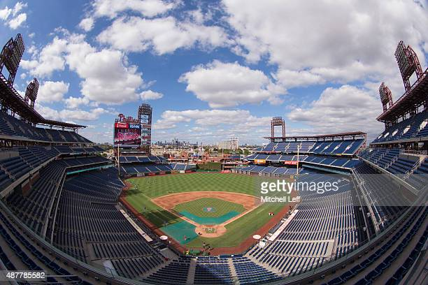 A general view of Citizens Bank Park prior to the game between the Chicago Cubs and Philadelphia Phillies on September 11 2015 at Citizens Bank Park...