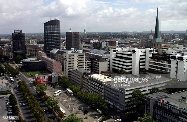 A general view of city center with the new RWETower on August 08 2005 in Dortmund Germany Dortmund is one of the host cities that will be used to...
