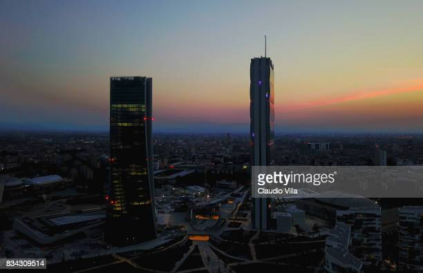 General view of Citylife District on August 17 2017 in Milan Italy
