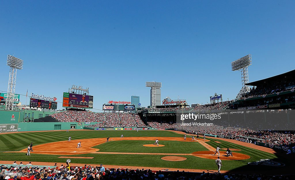 General view of Clay Buchholz of the Boston Red Sox pitches against the Baltimore Orioles during the Opening Day game on April 8 2013 at Fenway Park...