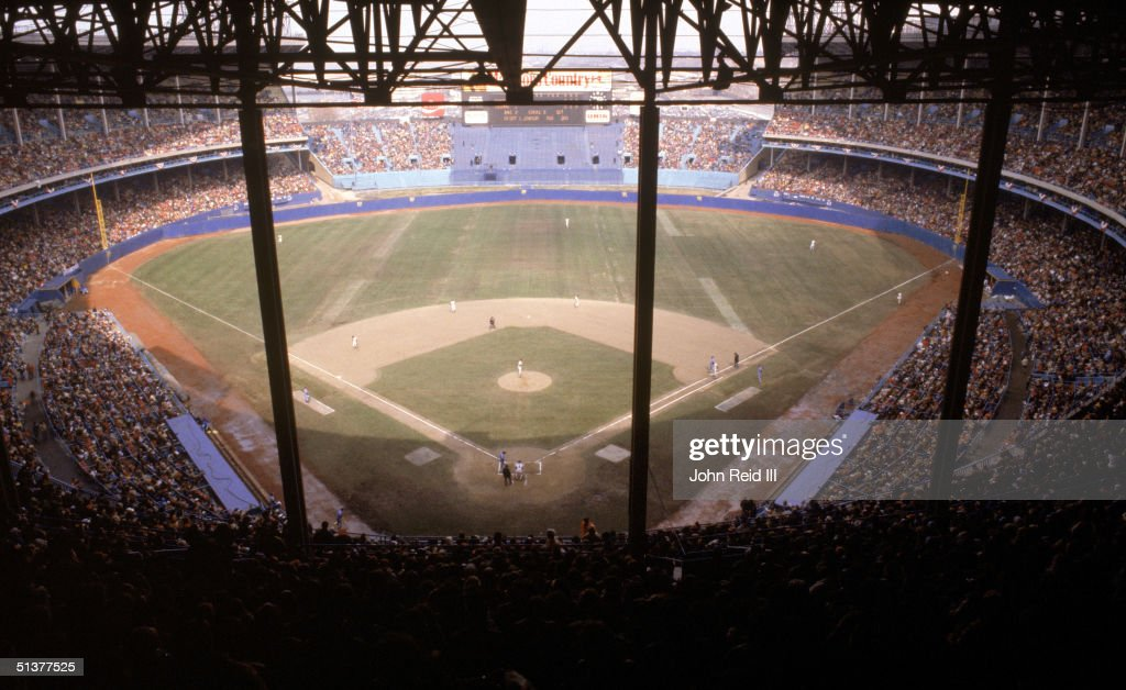 General view of Cleveland Municipal Stadium as the Cleveland Indians play the Texas Rangers in Opening Day on April 20 1982 in the Cleveland Ohio