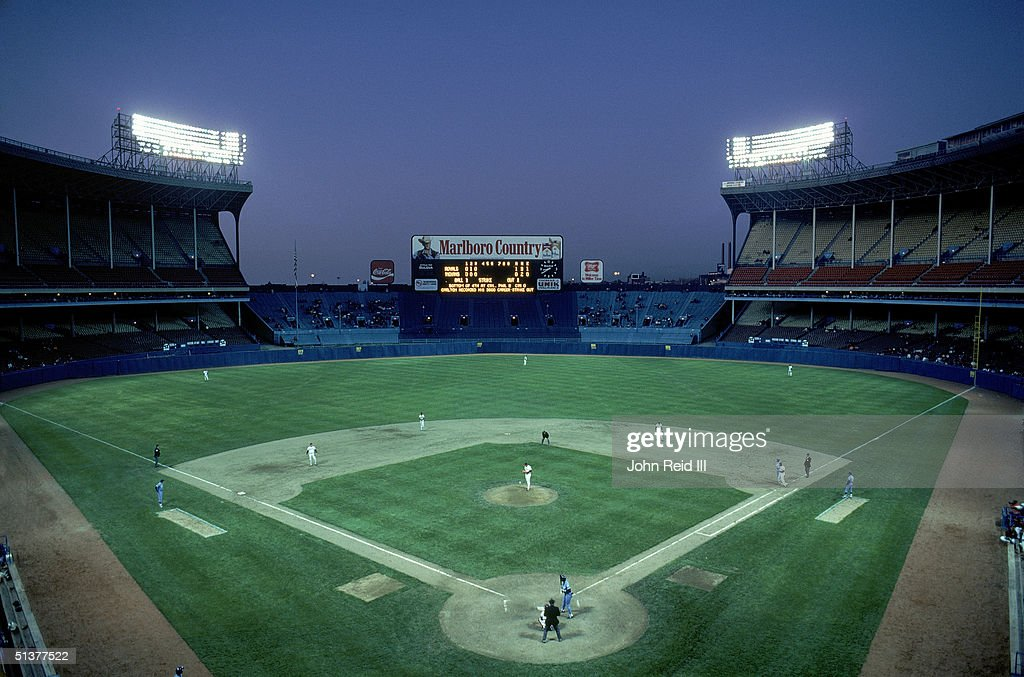 General view of Cleveland Municipal Stadium with the Cleveland Indians on the playing field in the Cleveland Ohio