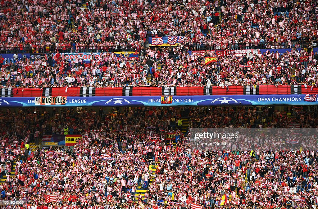 A general view of Club Atletico de Madrid fans during the UEFA Champions League Final match between Real Madrid and Club Atletico de Madrid at Stadio Giuseppe Meazza on May 28, 2016 in Milan, Italy.