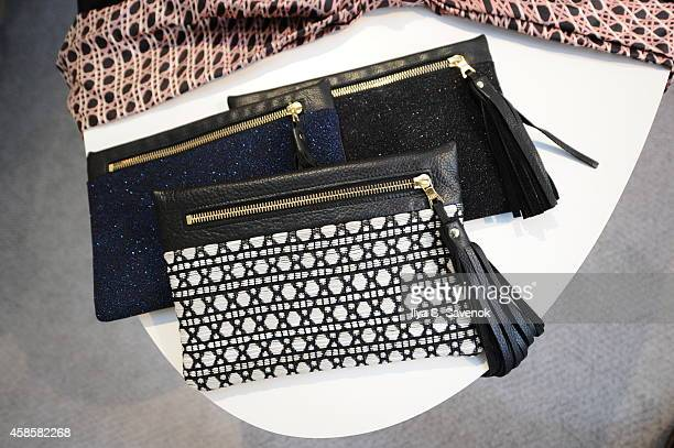 A general view of clutch accessories at fashion designer Bibhu Mohapatra's studio on November 7 2014 in New York City in preparation for the showing...