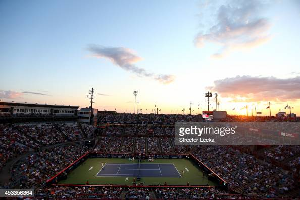 A general view of Coco Vandeweghe of the USA and Ekaterina Makarova of Russia in their quarterfinal match during the Rogers Cup at Uniprix Stadium on...