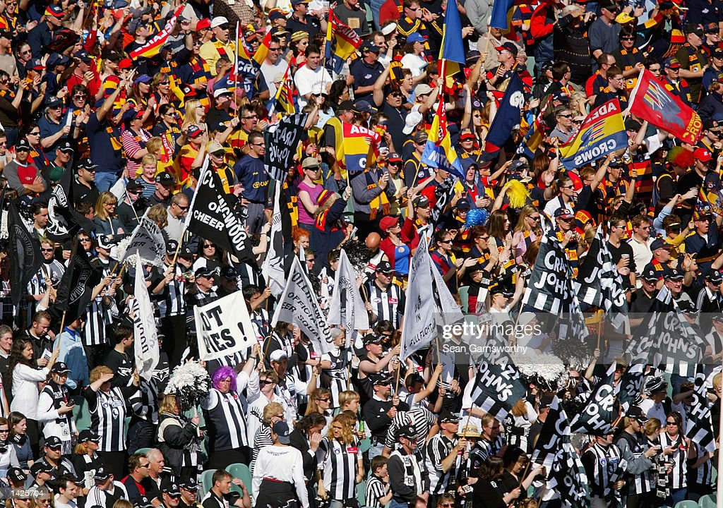 A general view of Collingwood and Adelaide fans in the stands during the First AFL Preliminary final match between the Collingwood Magpies and the...