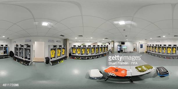 A general view of Columbia dressing room before the 2014 FIFA World Cup Brazil Group C match between Japan v Colombia at Arena Pantanal on June 24...