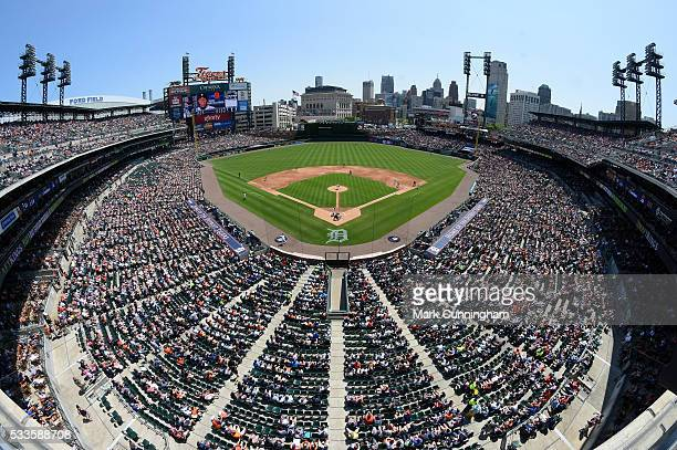 A general view of Comerica Park as Nick Castellanos of the Detroit Tigers bats during the game against the Tampa Bay Rays at Comerica Park on May 22...