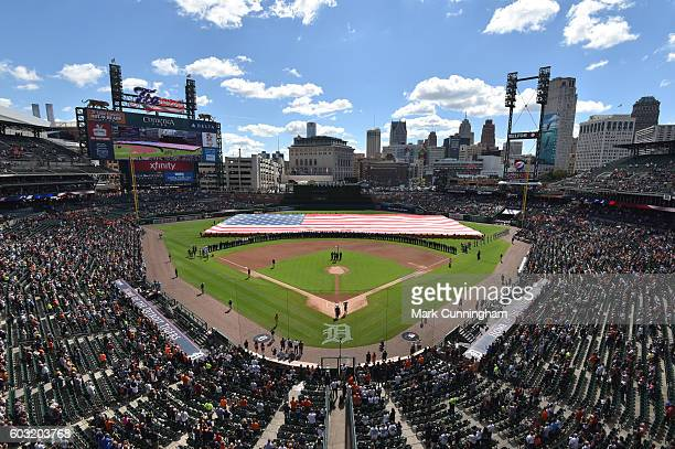 A general view of Comerica Park as the American Flag is stretched across the outfield during the First Responders Recognition Day Ceremony prior to...