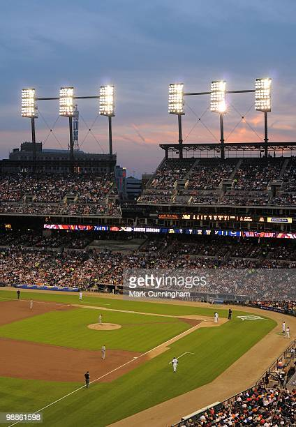General view of Comerica Park at night during the game between the Detroit Tigers and the Los Angeles Angels of Anaheim on April 30 2010 in Detroit...