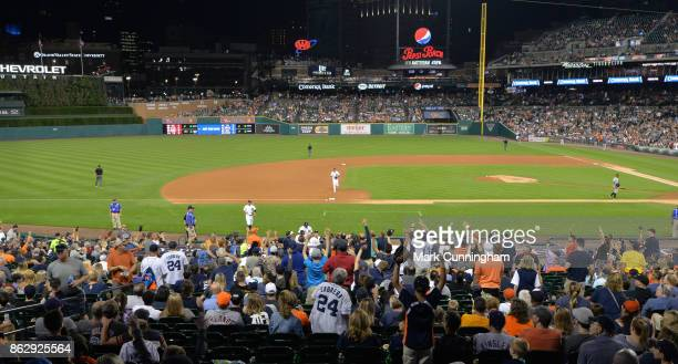 A general view of Comerica Park during the game between the Chicago White Sox and the Detroit Tigers at Comerica Park on September 16 2017 in Detroit...