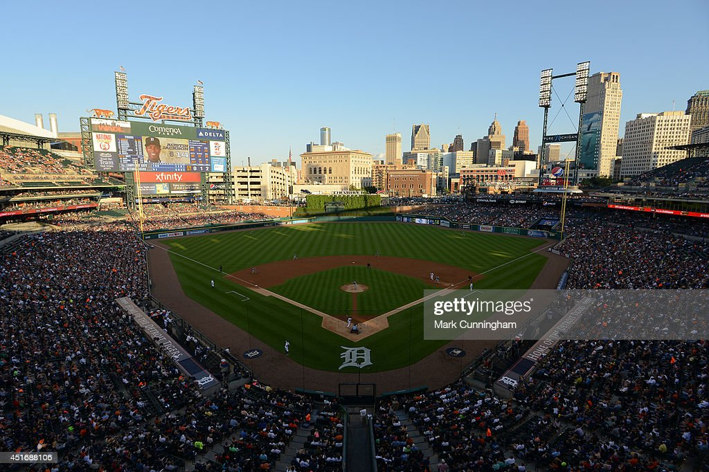 A general view of Comerica Park during the game between the Detroit Tigers and the Tampa Bay Rays at Comerica Park on July 3, 2014 in Detroit, Michigan. The Tigers defeated the Rays 8-1.