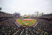 General view of Comerica Park during the National Anthem prior to the start of the Opening Day game between the Minnesota Twins and the Detroit...