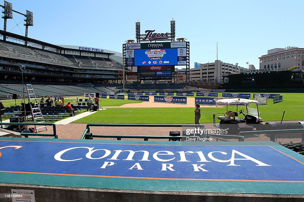 A general view of Comerica Park during the NHL Winter Classic-Hockey Town Winter Festival press conference on July 11, 2012 in Detroit, Michigan.