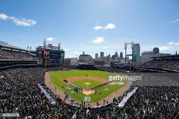 A general view of Comerica Park during the tribute to former owner Michael Ilitch during the opening day celebrations prior to that start of the game...