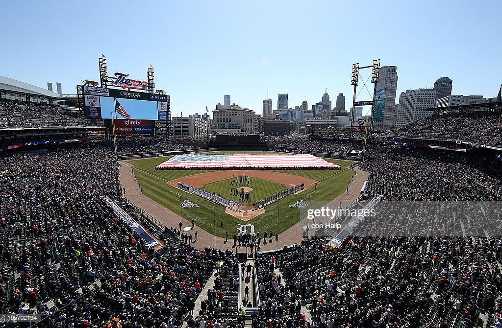 General view of Comerica Park prior to the start of the game between the New York Yankees and the Detroit Tigers during the home opener at Comerica Park on April 5, 2013 in Detroit, Michigan.