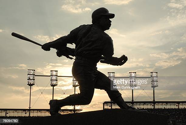 General view of Comerica Park's Willie Horton statue during the game between the Detroit Tigers and the Tampa Bay Devil Rays at Comerica Park in...