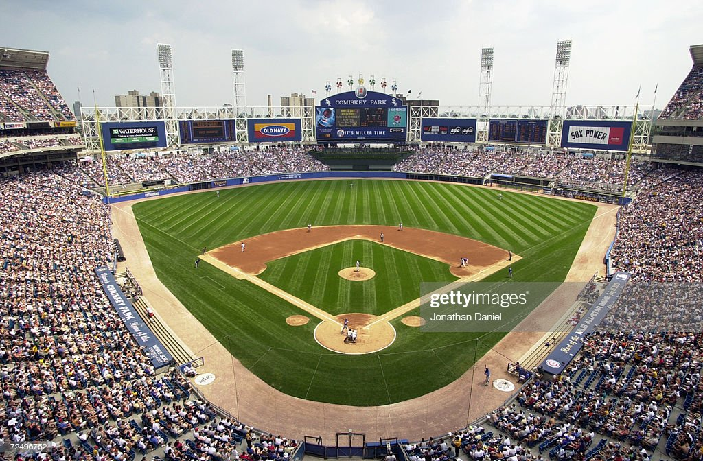 A general view of Comiskey Park and the 45351 in attendance looking out to straight away center field from above home plate as the Chicago Cubs take...