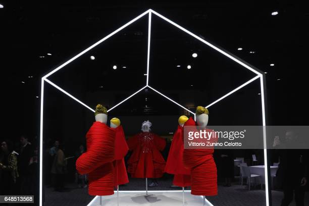 A general view of Comme Des Garcons dresses and installation during the 'Rei Kawakubo Comme Des Garcons Art Of The InBetween' Presentation as part of...