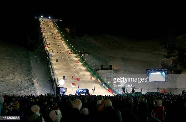 A general view of competition in the women's and men's dual mogul finals during the 2015 FIS Freestyle Ski World Cup at Deer Valley on January 10...