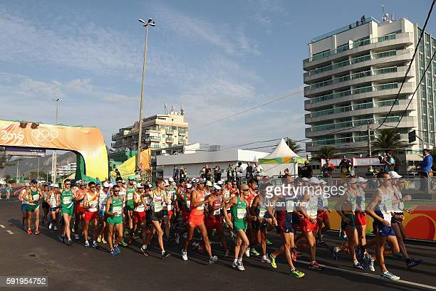 A general view of competitors during the Men's 50km Race Walk on Day 14 of the Rio 2016 Olympic Games at Pontal on August 19 2016 in Rio de Janeiro...