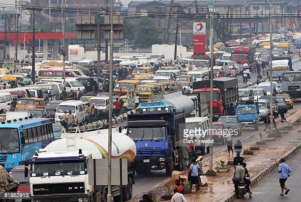 A general view of congested traffic in central Lagos on July 15 2008 in Lagos Nigeria