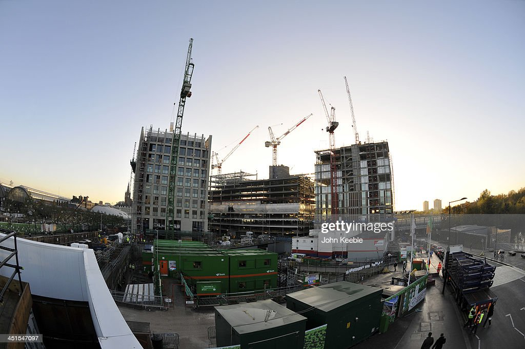 A general view of construction at King's Cross Central on November 20, 2013 in London, England. King's Cross Central is one of the most significant development and regeneration opportunities in Central London with Planning permission being granted by the London Borough of Camden in December 2006. Permission was given for nearly 8 million sq ft of mixed use and includes up to 25 large, new office buildings totaling some 4.9 million sq ft, 20 new streets, 10 new major public spaces, the restoration and refurbishment of 20 historic buildings and structures, and up to 2,000 homes and serviced apartments.