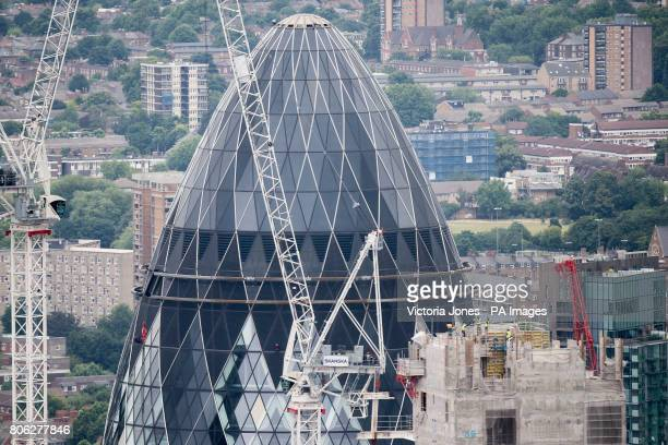 General view of construction work around 30 St Mary Axe building also known as the Gherkin from the View from the Shard London's highest viewing...