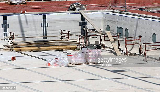 A general view of construction work at the swimming pool that will be used for the 2009 World Swimming Championships at Foro Italico on May 5 2009 in...