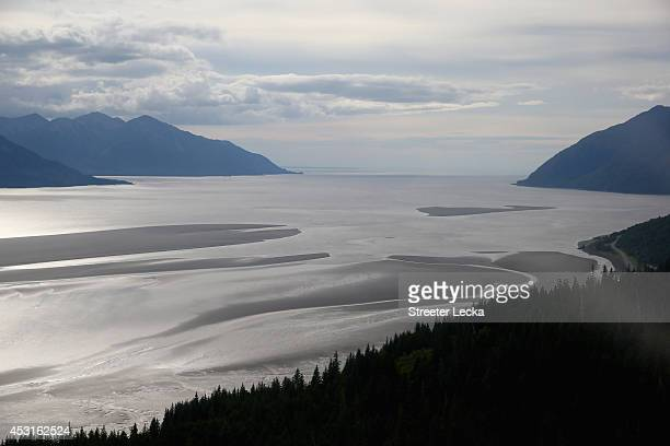 A general view of Cook Inlet before the Bore Tide at Turnagain Arm on July 12 2014 in Anchorage Alaska Alaska's most famous Bore Tide occurs in a...