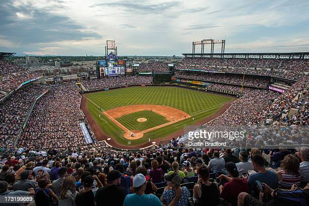 A general view of Coors Field as a sellout crowd watches a game between the Colorado Rockies and the Los Angeles Dodgers on July 4 2013 in Denver...