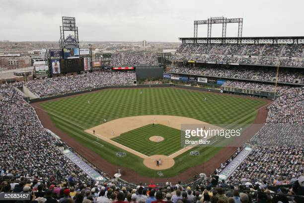 General view of Coors Field during the the home opener game between the Colorado Rockies and the San Diego Padres on April 4 2005 in Denver Colorado...