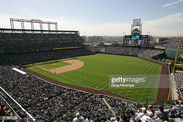 A general view of Coors Field taken during the Opening Day game between the Colorado Rockies and the Arizona Diamondbacks at Coors Field on April 3...