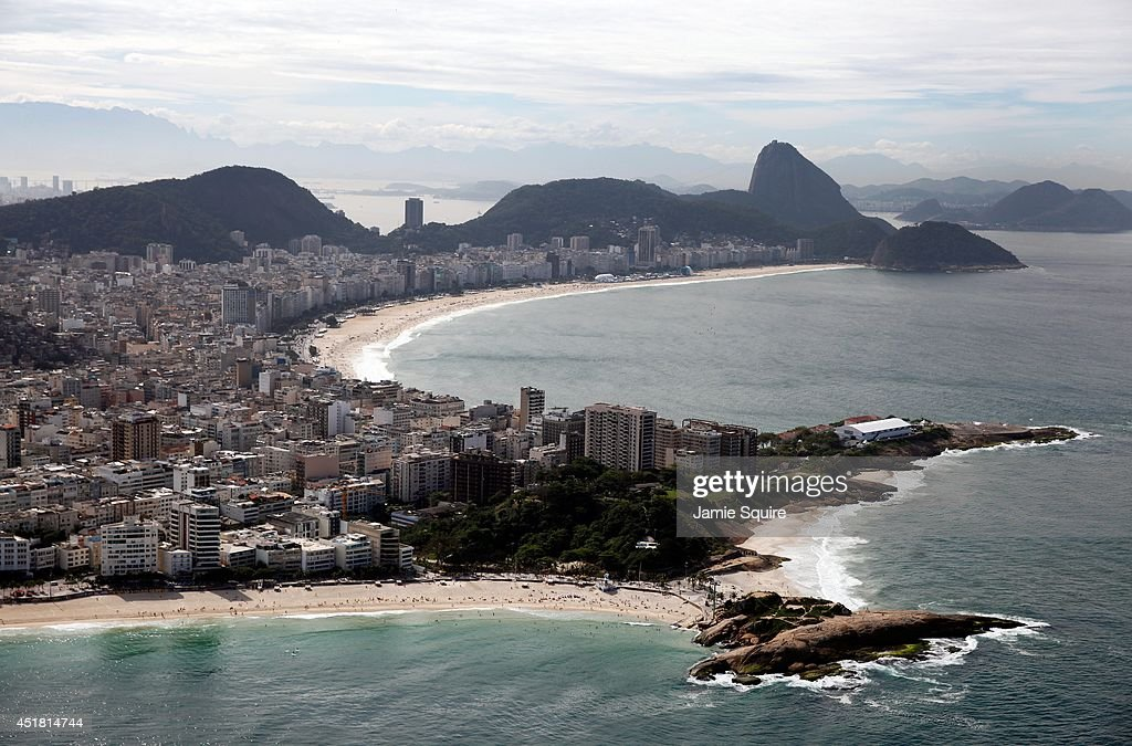 A general view of Copacabana Beach and Sugarloaf Mountain on July 7 2014 in Rio de Janeiro Brazil
