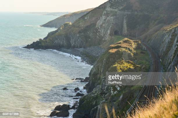 A general view of cost line near Bray seen from BrayGreystones cliff walk path On Sunday March 26 in Bray Ireland