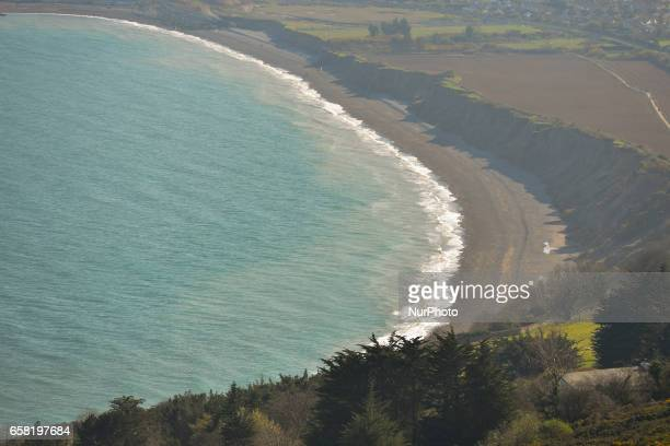 A general view of cost line near Greystones from a hill a part of BrayGreystones cliff walk On Sunday March 26 in Bray Ireland
