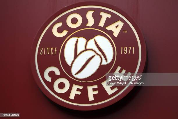 General view of Costa Coffee shop logo part of Whitbread PLC stable